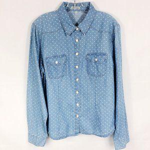 ! Per Se | Chambray Star Print Button Down Shirt